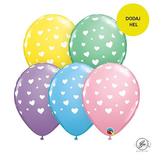 Balon QL 11 cali z nadr. Serca, miks kolorów