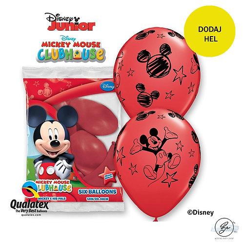 """Zestaw balonów 6 szt QL 12"""" z nadr. """"Mickey"""", pastel czerwony"""