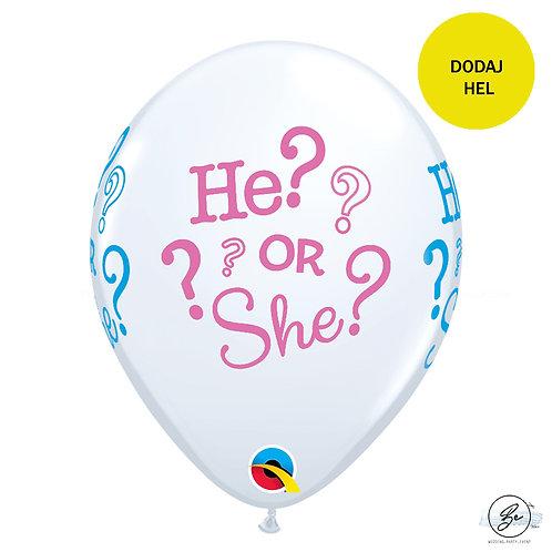 """Balon QL 11"""" z nadr. """"He? or She?"""", pastel biały"""