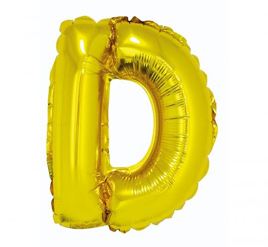 """Balon foliowy """"Litera D"""", złota, 35 cm"""