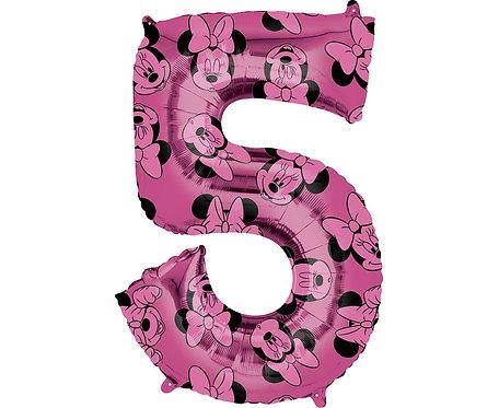 Balon foliowy cyfra 5 Myszka Minnie, fioletowy, 66 cm