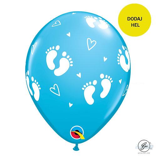 "Balon QL 11"" z nadr. ""Stopy Dziecka i Serca"", pastel błękitny"