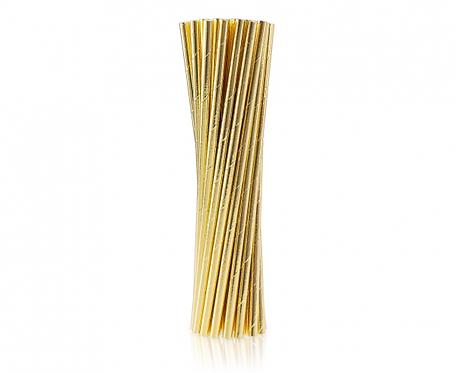 Rurki (słomki) papierowe złote, 24 szt