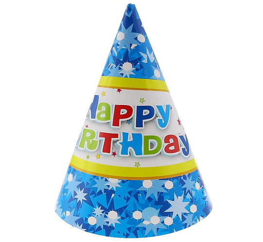 """Czapeczki papierowe """"Happy Birthday niebieskie"""", 6 szt."""