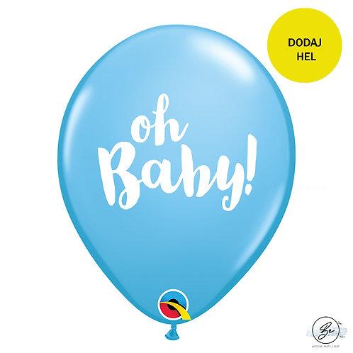 """Balon QL 11"""" z nadr. """"OH BABY!"""", pastel niebieski"""