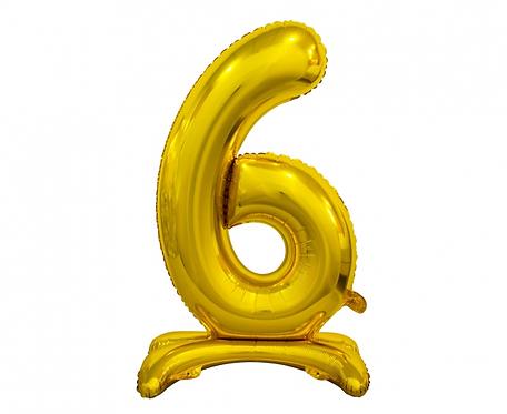 Balon foliowy B&C Cyfra stojąca 6, złota, 74 cm