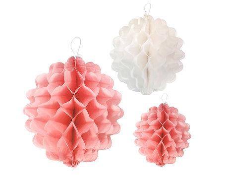 Rozeta dekoracyjna PB&C 3 kule, różowy miks (15 cm, 22 cm, 29 cm)