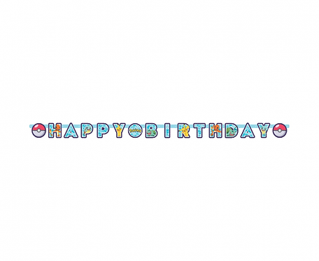 Girlanda papierowa Happy Birthday Pokemon 218 x 12 cm