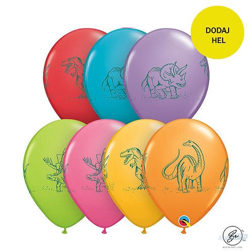 Balon QL 11 cali z nadr. Dinozaury, miks kolorów