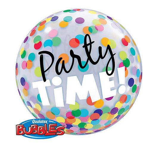 """Balon foliowy 22"""" QL Bubble Poj. """"Party Time! Kolorowe Grochy"""""""
