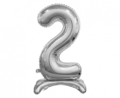 Balon foliowy B&C Cyfra stojąca 2, srebrna, 74 cm