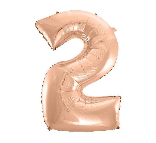 """Balon foliowy """"Cyfra 2"""", różowo-złota, 92 cm"""