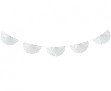 Girlanda papierowa W&C Wachlarze,biała, 300 cm