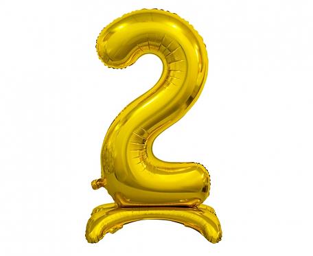 Balon foliowy B&C Cyfra stojąca 2, złota, 74 cm