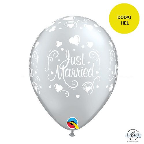 "Zestaw Balonów 6 szt QL 11"" z nadr. ""Just Married i serca"", metalik perłow"