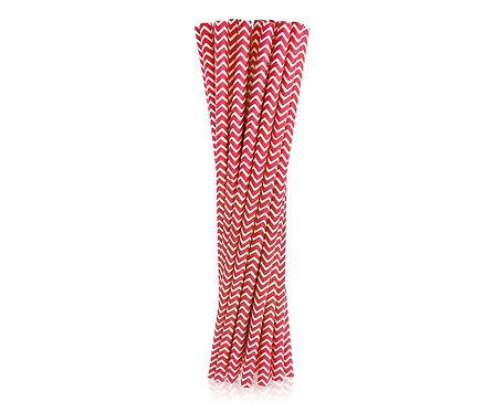 Rurki (słomki) pap. czerwone szlaczki, 6x197mm / 24 szt.