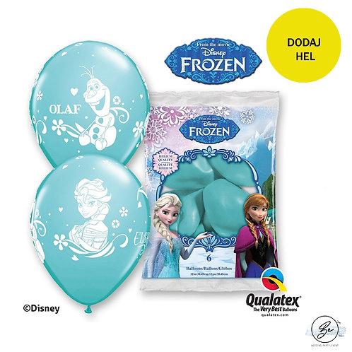 """Zestaw balonów 6 szt QL 12"""" z nadr. """"Anna, Elsa & Olaf"""", pastel karaibski"""