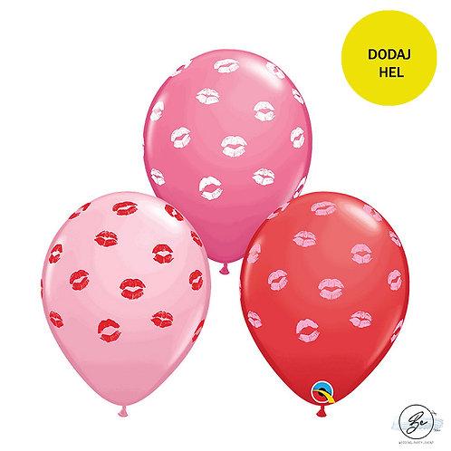 Balon QL 11 cali z nadr. Całusy, miks kolorów