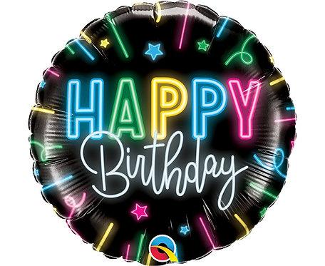 Balon foliowy 18 cali QL RND Happy Birthday, neonowy napis