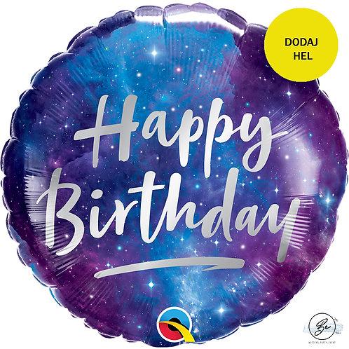 Balon foliowy 18 cali QL RND Happy Birthday, galaxy