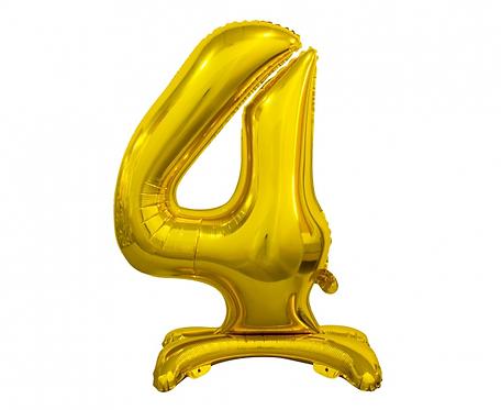 Balon foliowy B&C Cyfra stojąca 4, złota, 74 cm