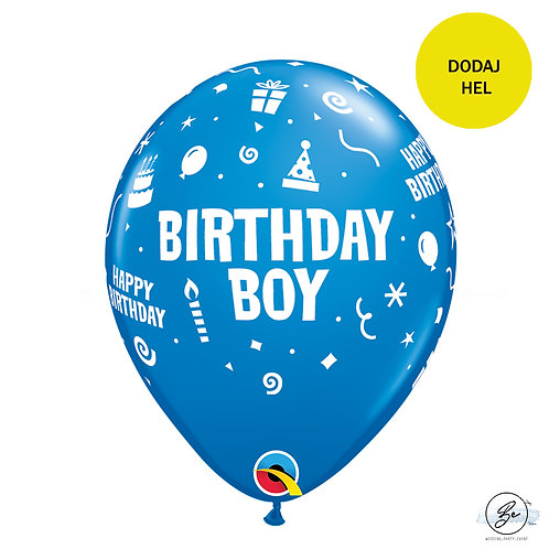 """Zestaw balonów 6 szt  QL 11"""" z nadr. """"Birthday Boy"""", pastel niebieski"""