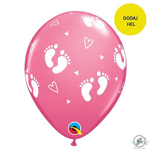 """Balon QL 11"""" z nadr. """"Stopy Dziecka i Serca"""", pastel różowy"""