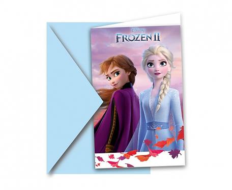 Zaproszenia z kopertami Frozen 2, 6 szt.