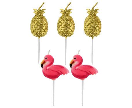 """Świeczki pikery """"Flamingi i Ananasy"""", 5 szt."""