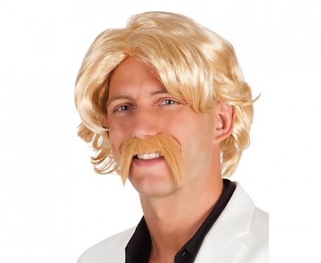 Peruka CHUCK z wąsem, blond