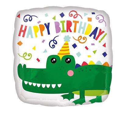Balon foliowy 18 cali SQR - Urodzinowy krokodyl