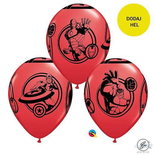 """Zestaw Balonów 6 szt  QL 12"""" z nadr. """"Avengers"""", pastel czerwony"""
