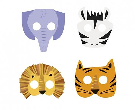 Maski papierowe Animal Safari, 4 wzory, 8 szt.