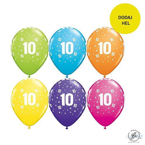 """Zestaw balonów 6 szt  QL 11"""" z nadr. """"10"""", pastel mix tropikalny"""
