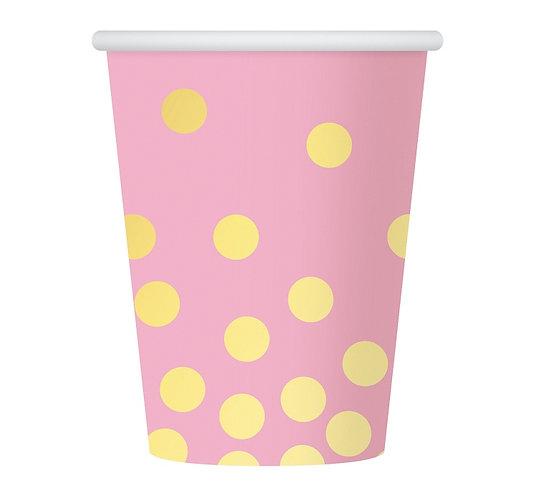 """Kubeczki papierowe """"Złote groszki"""", różowe, 270 ml, 6 szt."""