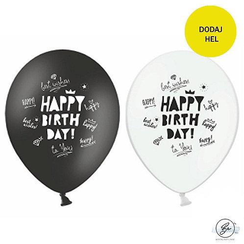 """Balon 11"""" Happy Birthday  biało czarne"""