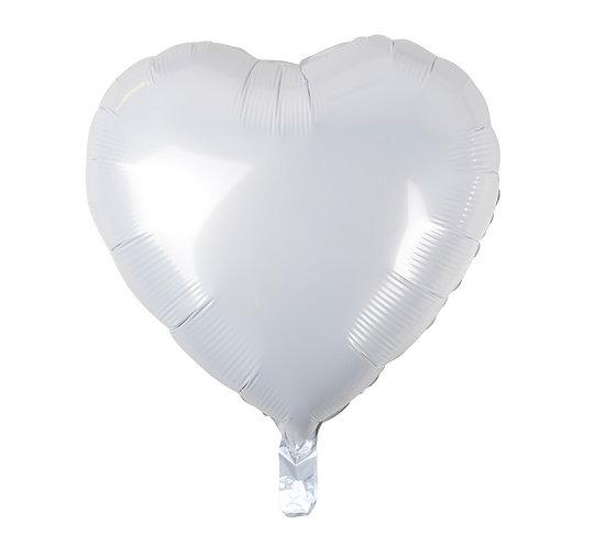 """Balon foliowy """"Serce"""", białe, 18"""""""