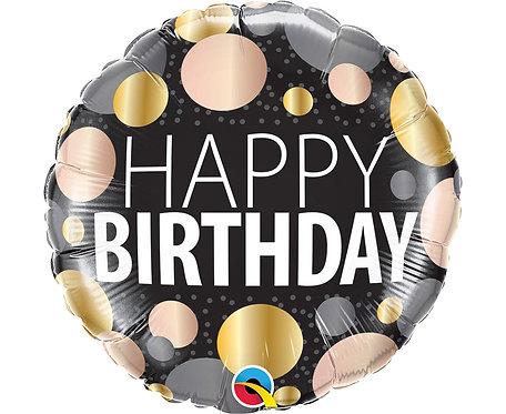 Balon foliowy 18 cali QL RND Happy birthday, metaliczne grochy