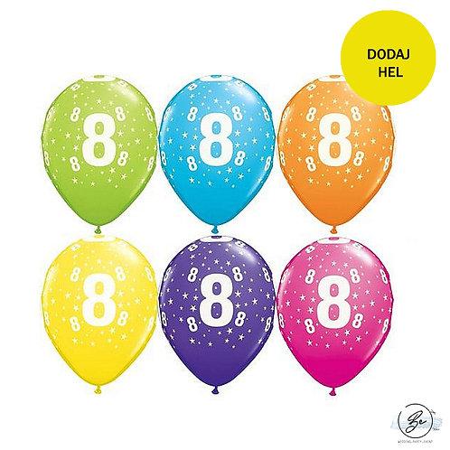 """Zestaw balonów 6 szt  QL 11"""" z nadr. """"8"""", pastel mix tropikalny"""