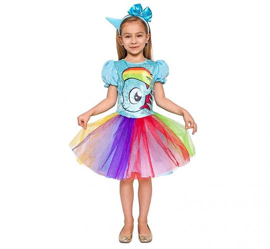 Strój dla dzieci Tęczowy Jednorożec (sukienka, opaska na głowę), rozm. 120/130 c