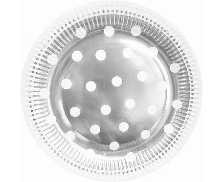 Talerzyki papierowe B&C Groszki, srebrne, 23 cm, 6 szt.