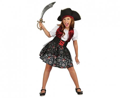 Strój dla dzieci Piratka (kapelusz, sukienka, pasek), rozm. 110/120 cm