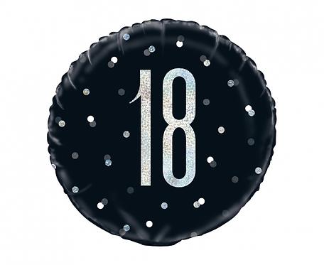 Balon foliowy UQ 18 cali Glitz, groszki z nadr. 18, czarny