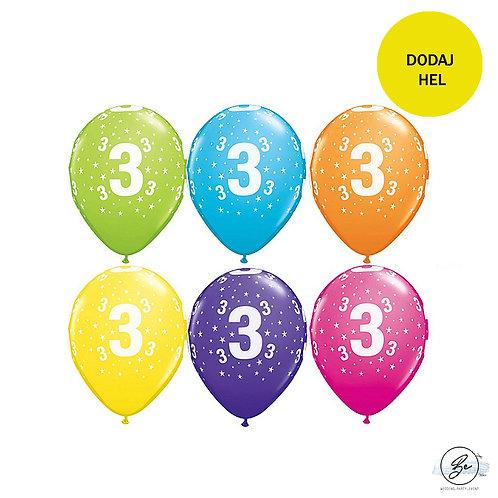 """Zestaw balonów 6 szt  QL 11"""" z nadr. """"3"""", pastel mix tropikalny"""