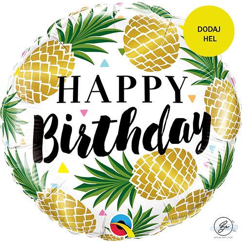 "Balon foliowy 18"" QL CIR - ""Birthday Golden Pineapples"""