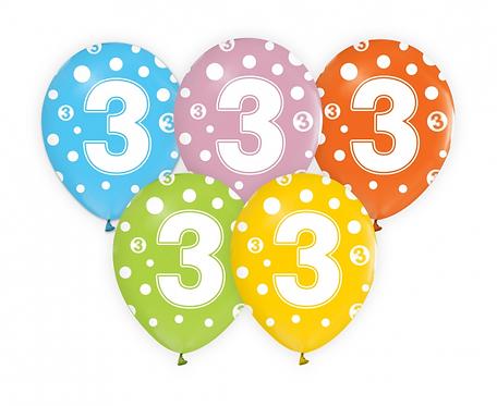 """Balony z cyframi: 3, 12""""/ 5 szt."""