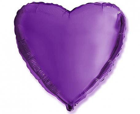 """Balon foliowy """"Serce"""", fioletowe, 18"""""""
