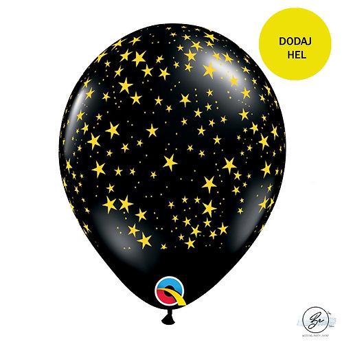 Balon 11 cali QL z nadr. Złote gwiazdy, czarny