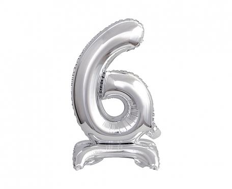 Balon foliowy B&C Cyfra stojąca 6, srebrna, 38 cm