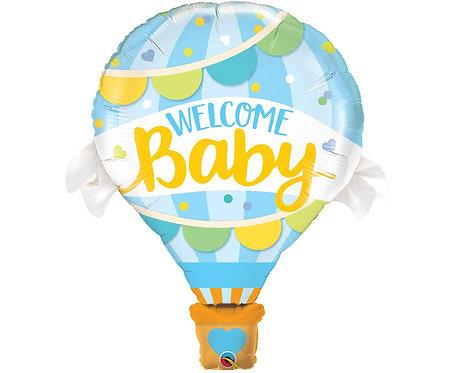 Balon foliowy 42 cale QL SHP Welcome Baby Blue Balloon